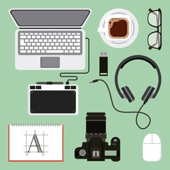 graphic design creativity activity work equipment collection vector illustration