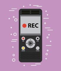 voice recorder sound work equipment vector illustration
