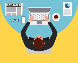 top view businessman works with laptop at desk vector illustration