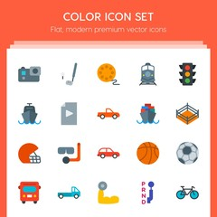Modern Simple Set of transports, sports, video, buildings Vector flat Icons. Contains such Icons as  body,  ball,  transport,  action,  green and more on red background. Fully Editable. Pixel Perfect