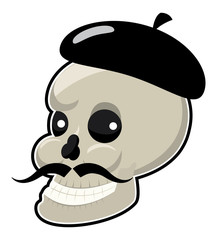 Skull with mustache and hat