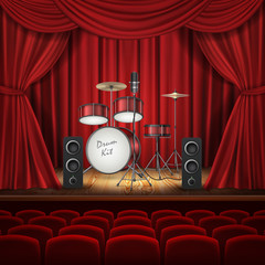 Vector concept background with drum kit, loud speakers and microphone on empty stage with curtains. Music hall for performances with rows of red velvet chairs. Banner for concert announcements