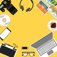 activities work equipment laptop tablet design graphic headphones mobile cd vector illustration