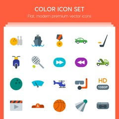 Modern Simple Set of transports, sports, video, buildings Vector flat Icons. Contains such Icons as ship,  tv, movie, vehicle,  quality, speed and more on red background. Fully Editable. Pixel Perfect