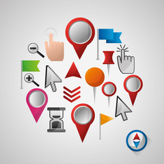 gps navigation application tools app locations pin maps ubication  vector illustration