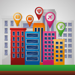 gps navigation application high buildings  places pin maps vector illustration