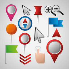 gps navigation application important tools locations hand clicking flags pin maps vector illustration