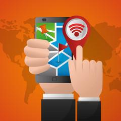 hand holding mobile pointing gps navigation application vector illustration