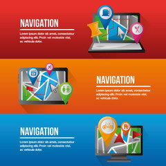 gps navigation application app devices technology digital vector illustration