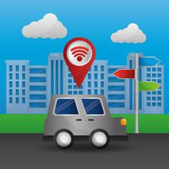 car on street city signal gps navigation application vector illustration
