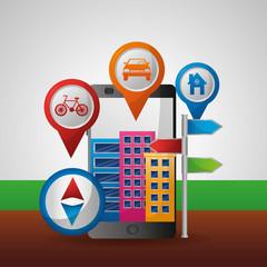 gps navigation city pointer location vector illustration