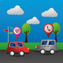 cartoon cars signal gps navigation application vector illustration