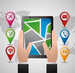 gps navigation application hands with mobile options vector illustration
