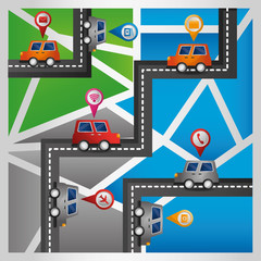gps navigation application mobile cars route streets map vector illustration