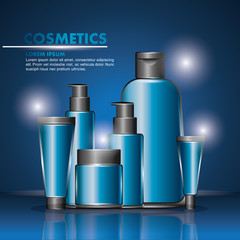 cosmetics beauty care products packages blue design vector illustration
