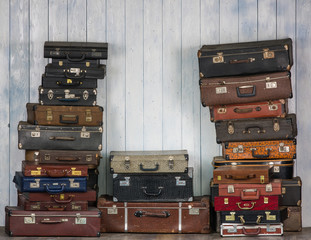collection of old suitcases