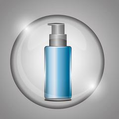 cosmetic bottle skincare cream on bubble vector illustration