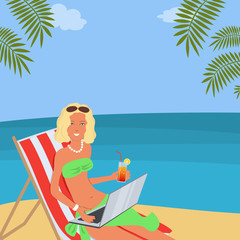 Young woman with laptop is sitting in a deck chair on the beach. She has a glass of cocktail in her hand. Vector illustration on the sea background.