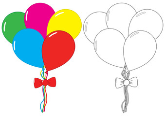 Balloons. Coloring book. Leisure activity for children. Vector illustration.