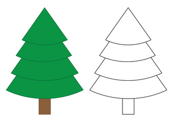 Fir tree cartoon. Coloring page for children. Vector illustration.