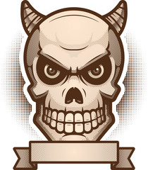 Demon Skull Banner Illustration