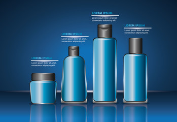 cosmetics packaging beauty bottle products set vector illustration