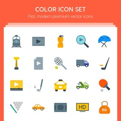 Modern Simple Set of transports, sports, video, buildings Vector flat Icons. Contains such Icons as hd,  quality, movie,  motion, car,  car and more on red background. Fully Editable. Pixel Perfect