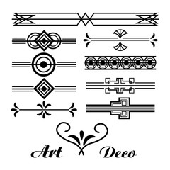 art deco vignette vintage ornament abstract collection vector illustration