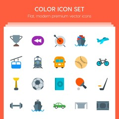 Modern Simple Set of transports, sports, video, buildings Vector flat Icons. Contains such Icons as  weight,  ocean,  cup,  championship, ice and more on red background. Fully Editable. Pixel Perfect