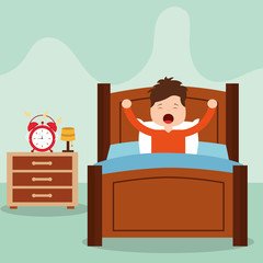Vector illustration of Little boy waking up in a bed on white background vector illustration