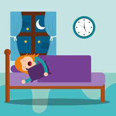 young girl asleep in bed hug a pillow at night vector illustration