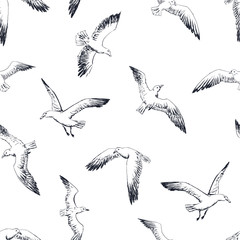 gulls seamless pattern