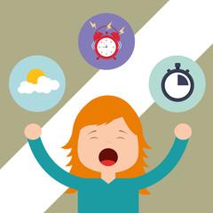 beautiful girl waking up and yawning vector illustration