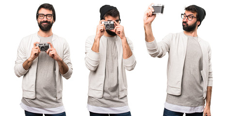 Set of Hipster man holding a camera