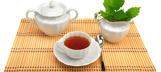 Set for tea isolated on white background.