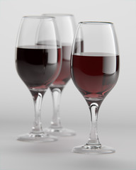 3D Rendering of wine glasses filled with red wine