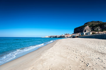Cefalu. Ligurian Sea and old town-medieval sicilian city