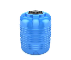 Blue plastic barrel on a white background. Polyethylene container for water. 3D illustration