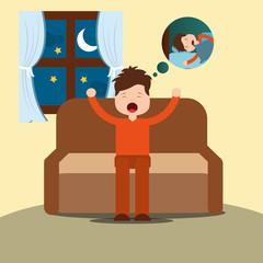 young man yawning thinking sleep sitting on sofa vector illustration