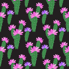 Vector Cactus with flowers pattern isolated on dark background.