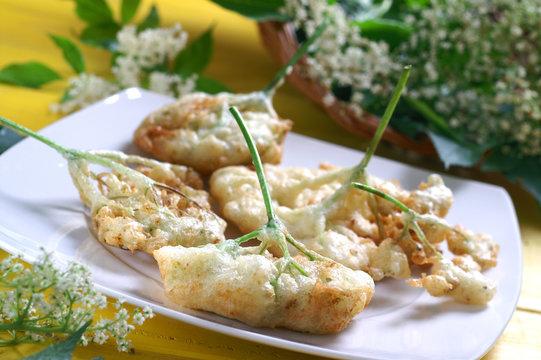 Fried elderflower pancakes