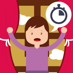 little girl with clock wake up window background vector illustration