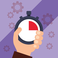 hand holding chronometer timer stop vector illustration