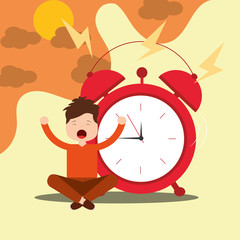 young boy sitting with alarm clock wake up concept vector illustration