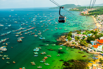 The Longest Cable Car situated on the Phu Quoc Island in South Vietnam. Wall mural