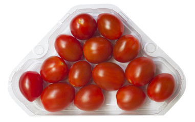 Cherry tomatoes on a branch in retail packaging. Isolated on white
