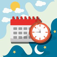 wake up alarm clock calendar planning vector illustration