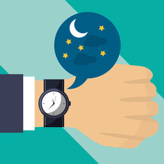 hand with wrist watch time night vector illustration