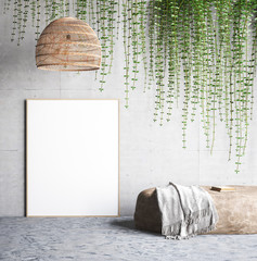 Mock up poster near concrete wall with lamp,ivy on the wall and stone, 3d render