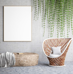 Mock up poster on concrete wall with armchair and stone, 3d render